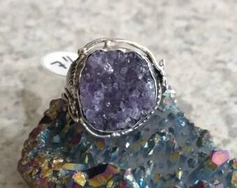 Amethyst Druzy  Ring, Size 7 1/2