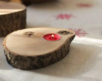 Oak Log tea-light candle holder - Small
