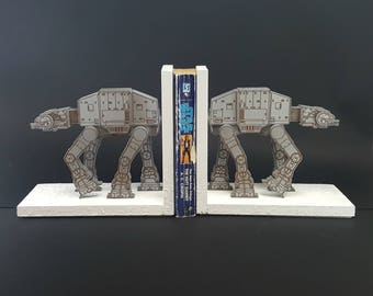 Star Wars AT-AT Bookend Set - Free US Shipping - Laser Engraved Book Ends - Battle of Hoth