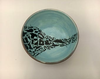 Light blue leopard pattern bowl