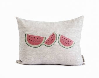 Tropical Decor, Watermelon, Kitchen Decor, Throw Pillows, Home Decor, Food Lover, Coastal Decor, Gift for Mom