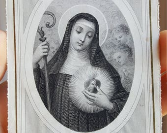 French Saint Gertrude Prayer Card Holy Card Catholic Art Religious Art Catholic Gift Religious Gift St. Gertrude