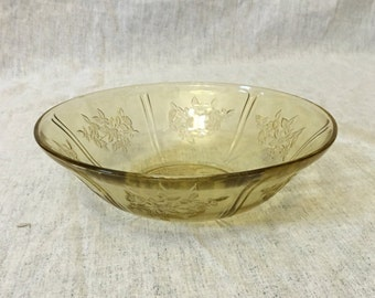 Vintage Federal Sharon Cabbage Rose Serving Bowl, Amber Depression Glass Vegetable Bowl