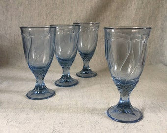 Vintage Noritake Light Blue Sweet Swirl Iced Tea Glasses, Set of 4