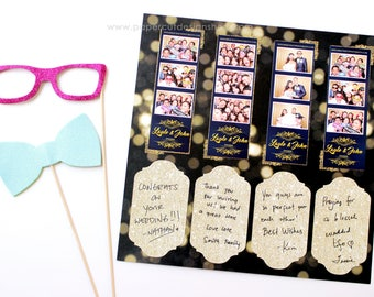"""Photo Booth Album Printed Scrapbook Pages for 2x6 Photo Strips GLITTER GOLD & BLACK Design Double-sided Print 12""""X12"""" size - 20 Sheets"""