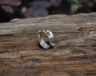Boho Ring, Silver Ring, Statement Ring, Wide Ring, Minimalist Hammered Ring, Flat Ring, Rustic Ring, Chunky Ring, Men Pinky Ring