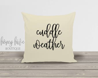 cuddle weather, square pillow with insert, 17x17 decorative cover, home decor, fall winter decor, unbleached cotton, zipper pillow cover