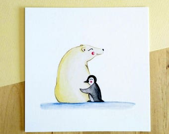 Illustration Polar Bear & Penguin
