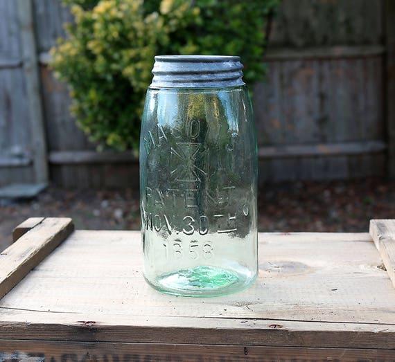Antique Aqua Mason Jar, Mason Jar Patent NOV 30th 1858, Antique Bottle, Apothecary Bottle, Mason Fruit canning jar, Antique canning jar