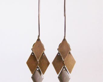 Earrings cluster diamond taupe and bronze