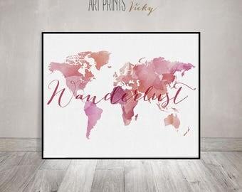 Wanderlust print, Large world map, Travel map, World map poster, World map print, Map of the world, ArtPrintsVicky.