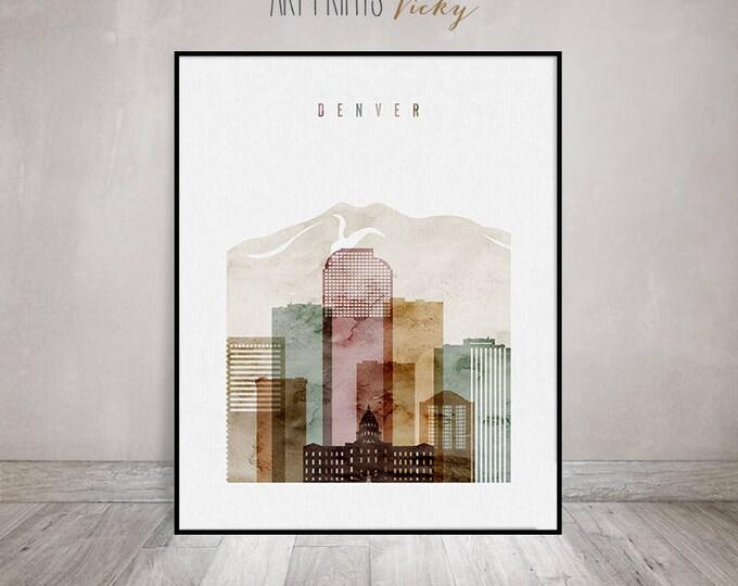 Denver art poster, watercolor print, Denver skyline, Travel gift, Wall art, Colorado, City prints, Office Decor, Home Decor, ArtPrintsVicky