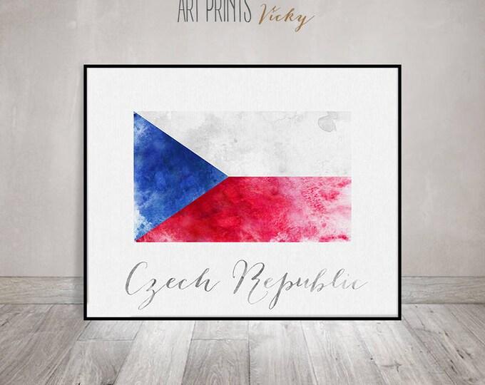 Czech Republic flag print, Czech Republic art poster, watercolor art print, Wall art, office decor, Home Decor, gift, ArtPrintsVicky