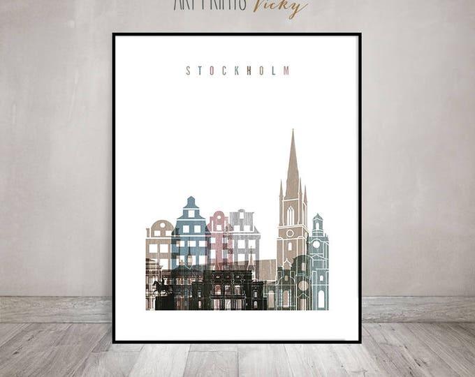 Stockholm art print, Stockholm poster, distressed art, travel, Wall art, Stockholm skyline, Sweden, city print, Home decor, ArtPrintsVicky