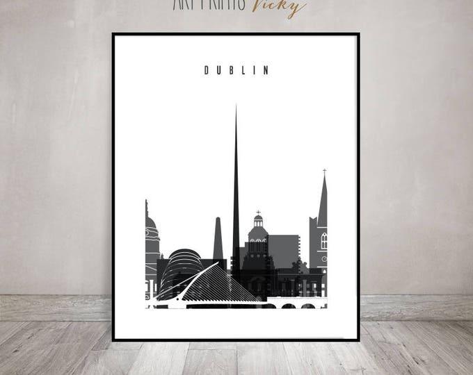 Travel poster of Dublin wall art print, black and white art, minimalist, Dublin skyline, Wall art, Ireland, Gift, Home decor, ArtPrintsVicky