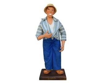 Vintage Fernandel Doll - French Provencal Santon Doll - Clay Doll - Saint Tropez Figure - French Traditional Doll - Magali Santon