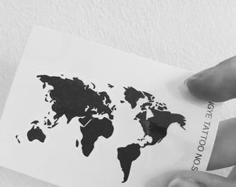 World Map - Temporary Tattoos // Body Art // Cool // Travel // Summer // Party