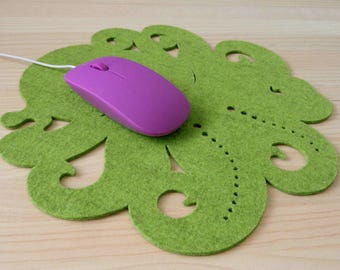 Octopus, Felt, Mouse pad, Desk Accessories, Home decoration, Office, Original Design,