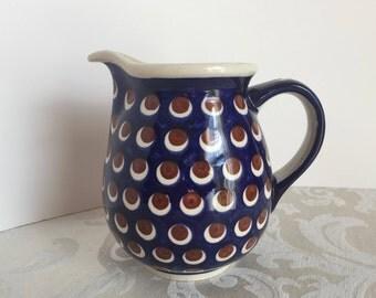 Vintage Polish Pottery Boleslawiec Blue Pitcher Circle Design Farmhouse Kitchen Decor