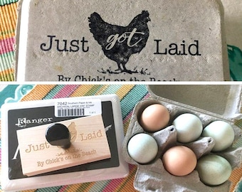 Custom Egg Carton Stamp - Just Got Laid Stamp - Chicken Egg Carton Label - Personalized Egg Cartons with Chicken Names - Chicken Coop Sign