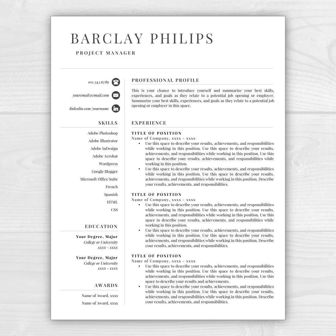 template for resumes free