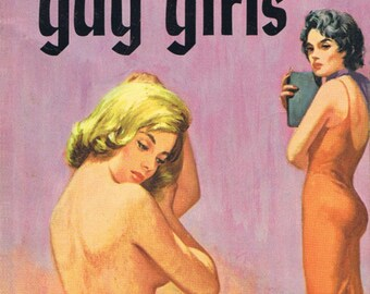 Lesbian pulp vintage art print All the Gay Girls — pulp paperback cover repro