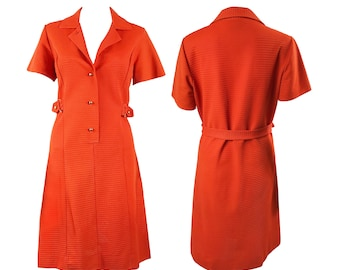 Vintage Orange 1970s Shirt Dress With Gold Buttons Shift Day Short Sleeve Style