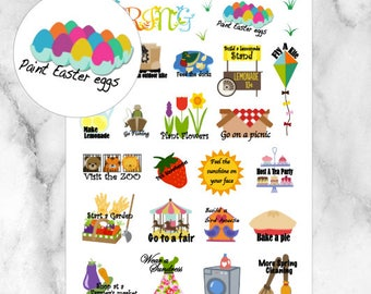 Spring Bucket List Planner Stickers // 30 Stickers // For your Erin Condren, Filofax, and more
