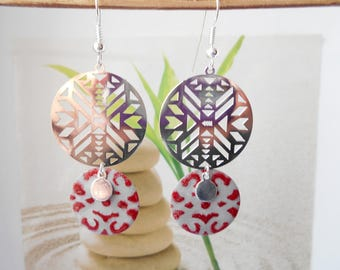 Silver chevron sequin gray red earrings