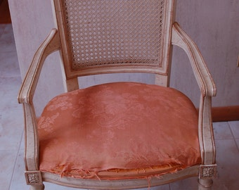 French Cane Back Side Arm Chair Original Paint