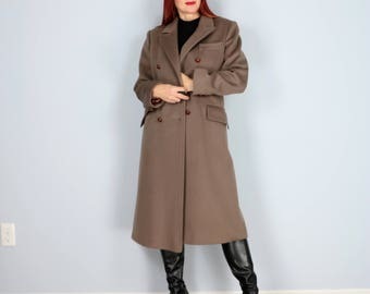 1960s 70s Classic Long Wool Winter Coat - Neutral Double Breasted Blazer Style Coat - Menswear Inspired - Brown Grey - Size Small Medium