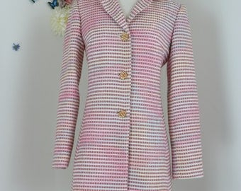 1990s Spring Coat - Pastel Multicoloured Tweed Trench Coat - Floral Metal Buttons - Pockets - Size XS/S