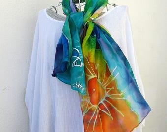 "Foulard en soie peint à la main, hand painted silk scarf, cadeau St Valentin, french gift ""Sunset"""