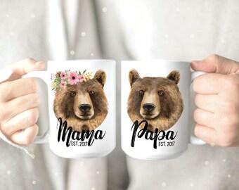 Papa and Mama Bear Mugs - His and Hers Mugs - Couple Mugs Set - Mama Bear Mug - Papa Bear Mug - Couples Coffee Mugs