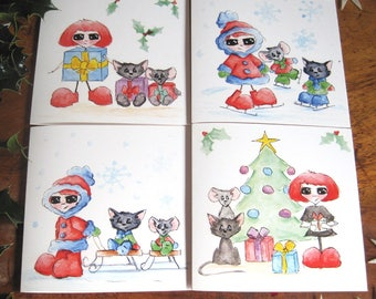 Lovely Christmas Cards set of 4, Season Geetings Cards, Watercolour Illustration, Cute Christmas cards, Illustrated Cards, Cute Cards