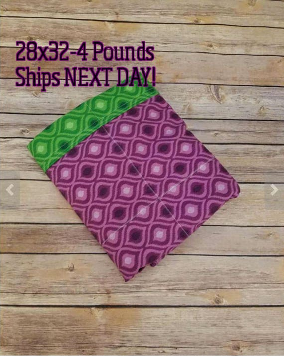 Green and Purple, 4 Pound, WEIGHTED BLANKET, 4 pounds, 28x32 for Autism, Sensory, ADHD, Calming, Anxiety,