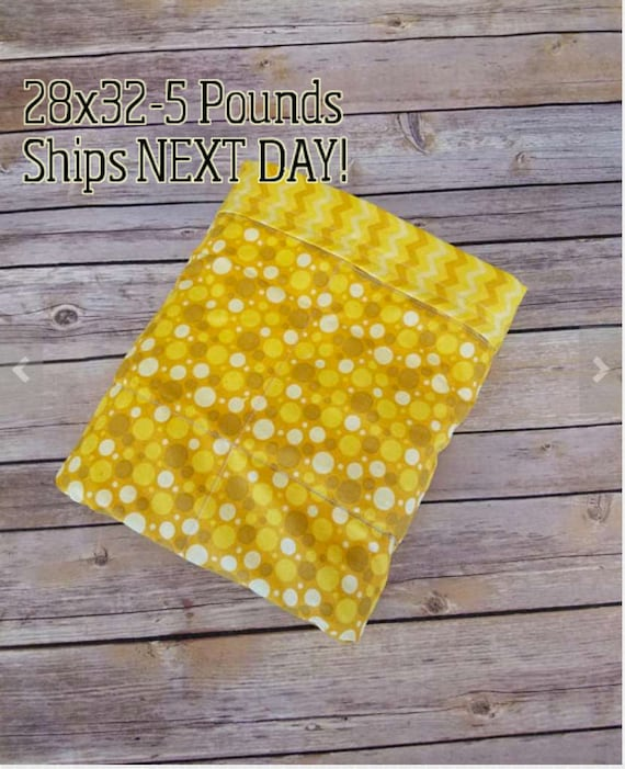 Yellow Dots,Chevron, 5 Pound, WEIGHTED BLANKET, 5 pounds, 28x32 for Autism, Sensory, ADHD, Calming, Anxiety,