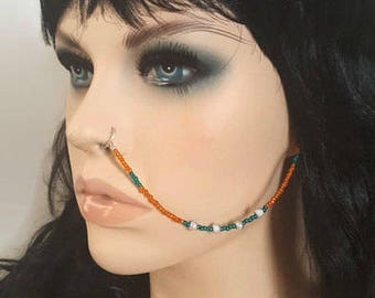 Nose Chain - Beaded Nose Ring - Ear To Nose Chain - Face Jewelry - Nose Ring - Statement Jewelry - Boho Body Jewelry - Tribal Body Jewelry