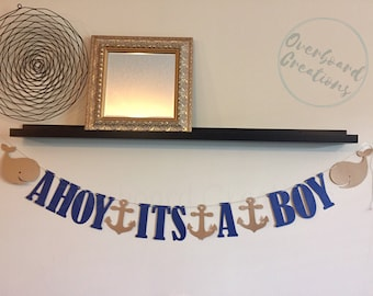Ahoy its a boy baby shower banner nautical whale anchor navy blue boy party decor