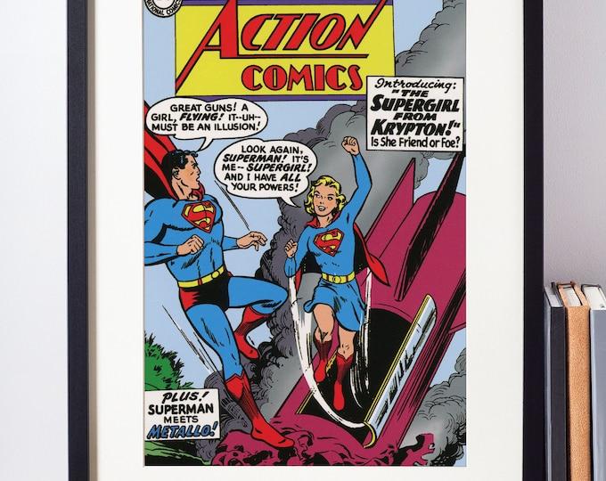 Superhero Wall Art / Superman Poster / Action Comics Art / Vintage Comic Book / Nerd Gift / Geeky Wall Art / Supergirl Art / Geeky Baby Gift