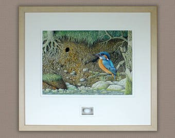 Original Kingfisher Painting with replica egg,Acrylic painting,Bird Painting,Free Shipping.