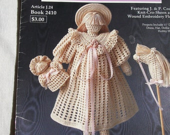 "Crochet Collector Doll Patterns No. 1, 11"" Victorian School Girl Doll, Dollie, Dress, Hat, Hobby Horse, J&P Coats Article J.24, Book 2410"