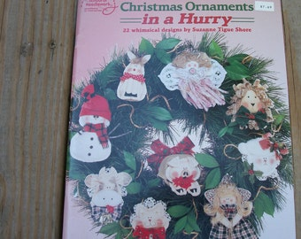 Christmas Ornaments, Fabric Crafts, 22 whimsical designs by Suzanne Tigue Shore,needlework,christmas,1994,not digital, not used