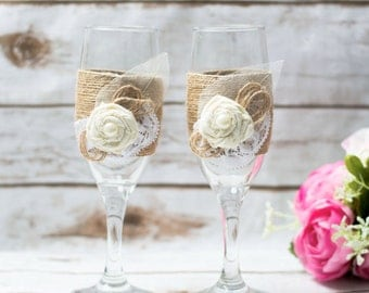 Rustic Wedding Set Toasting Glasses Country Wedding Set Flutes champagne glasses Country Wedding Set