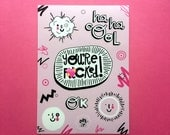 You're F**ked! Sticker Sheet - Vinyl Stickers, Smiley Stickers