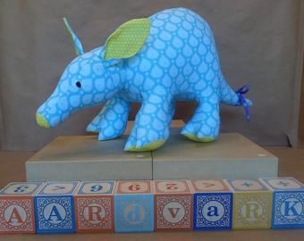 Stuffed Aardvark Toy in Blue & Yellow