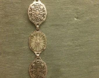 Art Deco Camphor Bracelet, Camphor Glass Rhinestone Rhodium Plated Bracelet, Deco Camphor Glass Rhinestone Link Bracelet, Gift for Her