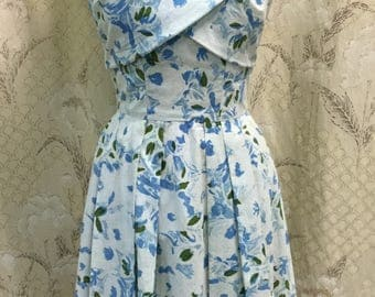 Gorgeous 1950s Blue and White Floral Print Cotton Day Dress, Jerry Parnis