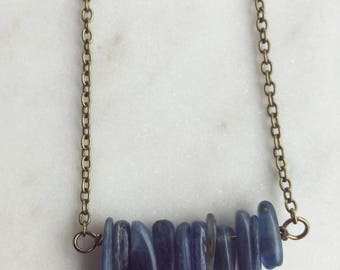 Kyanite Necklace, Kyanite Jewelry, Statement Necklace, Boho Necklace, Layering Necklace, Trendy Necklace