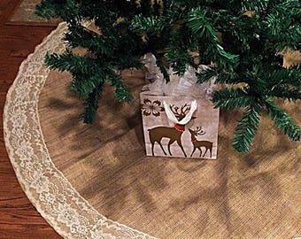 Tree skirt, Christmas Tree Skirt, Burlap and Lace Christmas Tree Skirt, 60 inches diameter, Christmas decor, tree skirt, lace, rustic decor